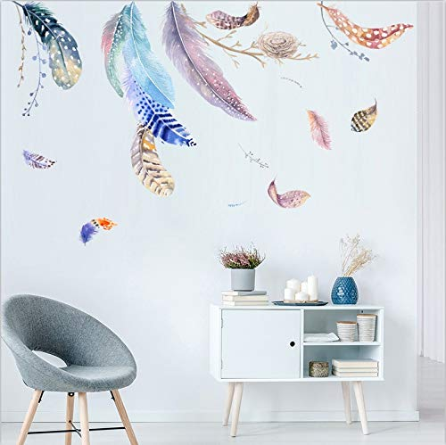 Pegatinas de pared de plumas multicolores para habitación de niños, habitación de bebé, mural de vinilo DIY, aplique, Mural ambiental, artista, decoración del hogar