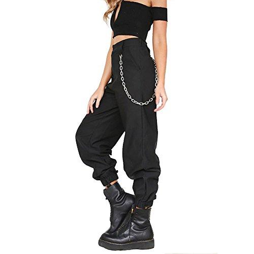 Women's Casual Baggy Hip Hop Pants Stylish Chain Loose Sport Harem Cargo Pants