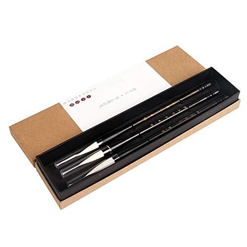 Suministros de oficina Juego de pinceles de caligrafía china, juego de 3 piezas, pequeño, mediano, grande, pelo castaño (color de pelo blanco)