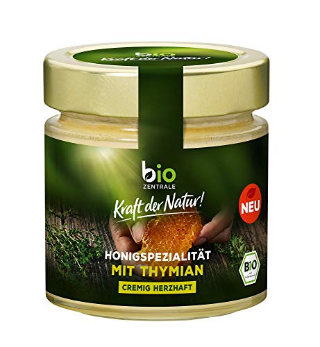 biozentrale Honigspezialität mit Thymian | 250 g | cremig herzhaft | im Tee oder als Brotaufstrich | Blütenhonig mit Thymian
