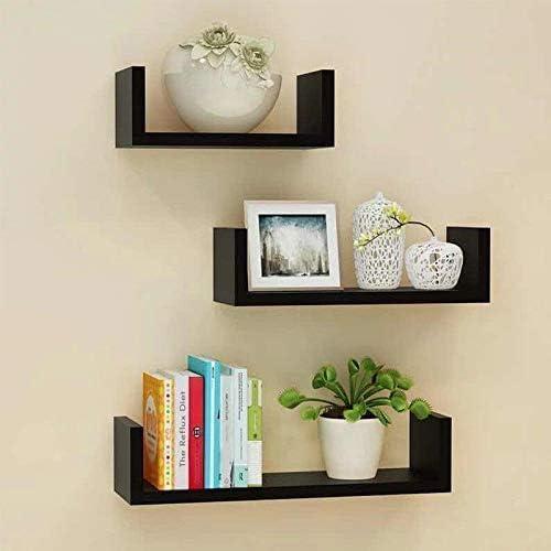 MSSA U Shelf Shape Wall Rack Shelves for Living Room Book Home Black Room Home Kitchen Book Decor Wooden Extra Large Set of 3