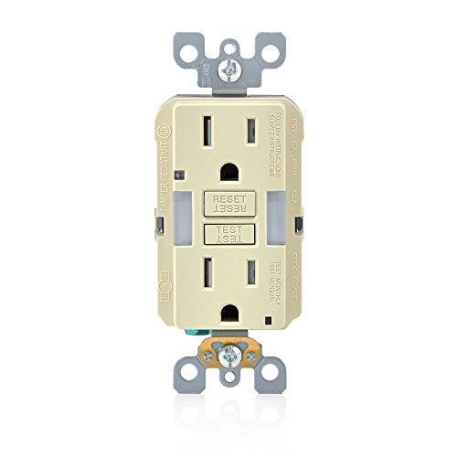 Leviton GFNL1-I Self-Test SmartlockPro Slim GFCI Tamper-Resistant Receptacle with Guidelight and LED Indicator, 15 Amp, Ivory