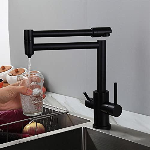 Grifo Para Osmosis 3 Vias Abatible Latón Giratorio Caliente Y Fría Agua Potable Grifo De Cocina-Negro