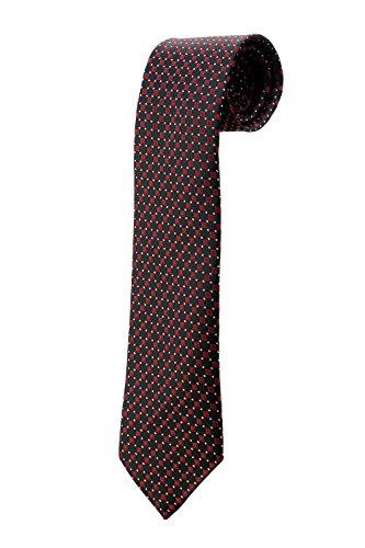 Cravate noire à motifs carrés rouges DESIGN costume homme mariage cérémonie