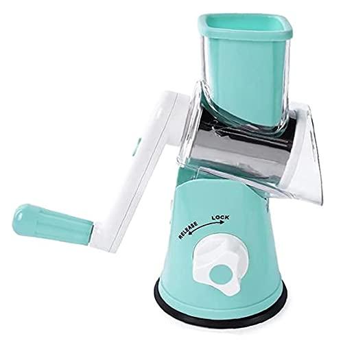 Queso rotatorio del rallador de cocina máquina de cortar mandolina azul con 3 intercambiables de acero inoxidable Cuchillas para Frutas Hortalizas, rallador de queso