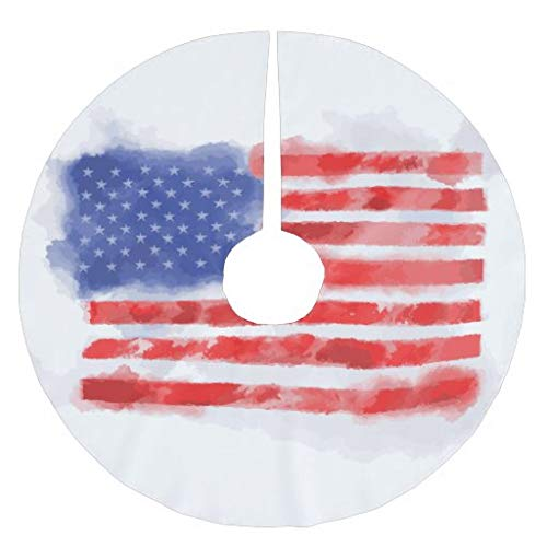 Traasd11an Christmas Tree Skirt, 30 inches Large Xmas Tree Skirts Watercolor American Flag for Veterans and Patriots for Christmas Tree Decorations