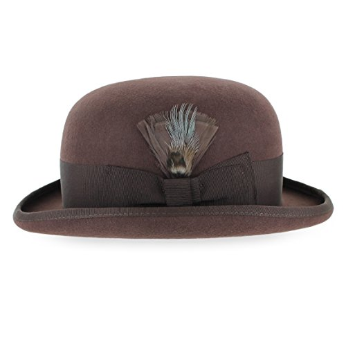 Belfry Tammany Men's Vintage Style Dress Fedora 100% Pure Wool Felt Derby Bowler Hat in Black or Grey (Medium, Brown)