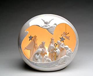 ATD 10 Inch Festive Porcelain Large Light Up Globe Nativity Scene Ornament