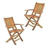 Pack 2 sillones de jardín Teca Plegables, Madera Teca Grado A, Tamaño: 51x60x85 cm, Tratamiento al Agua aplicado