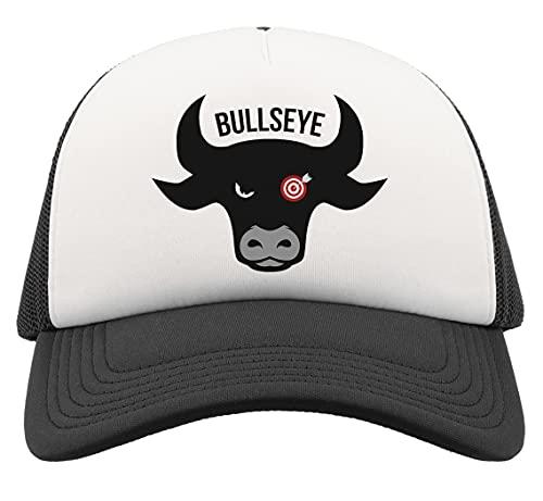 Generic Bullseye Funny Dart Player Logo Cow Head Half Mesh Trucker Cap Baseball Hut Snapback Schwarz