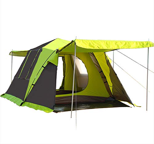 CCISS Camping Zelt Schnelles ÖFfnen DoppeltüR Quadratische Oberseite Automatisches Camping Draussen 3-4 Leute GroßEs Weltraumzelt,Green