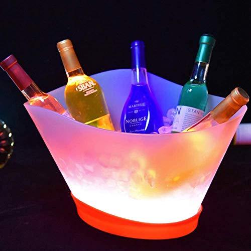 YXZN LED-Eiskübel 12 Liter Großer Fassungsvermögen Beleuchteter Eiskübel Mit 7 Farben Wechsel Der Wiederaufladbaren Champagner-Weingetränke Bier-Eiskübel Party Bar Home