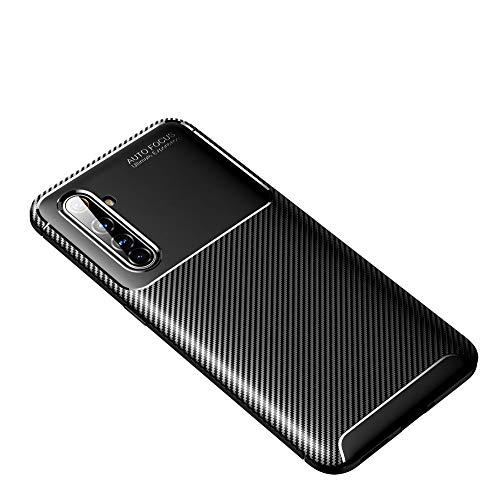 Haoye مناسب للغطاء Realme X50 PRO 5G ، التصميم في ألياف الكربون لينة TPU للصدمات الأصلي أنيقة ومرنة فائقة. أسود