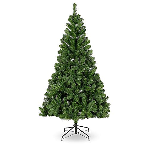 Sibosen 8 ft Artificial Christmas Tree, Flocked Christmas Tree w/Folding Metal Christmas Tree Stand, Xmas Pine Tree for Indoor Outdoor Holiday Decoration, Easy Assembly, Green