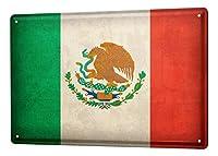 なまけ者雑貨屋 Mexico Flag ブリキ看板 壁飾り レトロなデザインボード ポストカード サインプレート 【20×30cm】