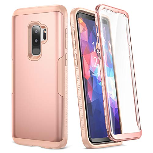 YOUMAKER Galaxy S9+ Plus Case, Rose Gold with Built-in Screen Protector Heavy Duty Protection Shockproof Slim Fit Full Body Case Cover for Samsung Galaxy S9 Plus 6.2 inch (Pink)