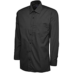 247-Clothing Mens Classic Full Sleeve Poplin Office Shirt Easy Care All Sizes/Colours (18.5 Collar, Black)