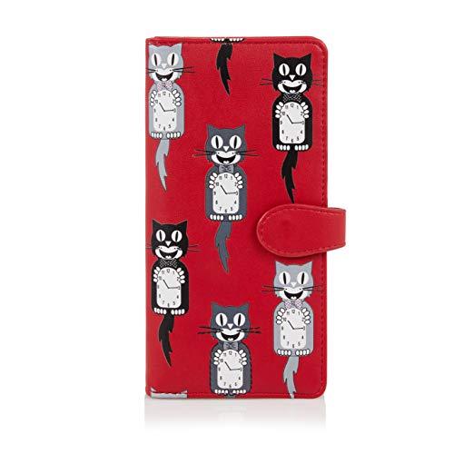 Shagwear ® Portemonnaie Geldbörse Damen Geldbeutel Mädchen Bifold Mehrfarbig Portmonee Designs: (Katze/Cat Clocks)