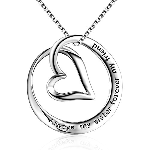 """Sterling Silver Always My Sister Forever My Friend Love Heart Pendant Necklace, Box Chain 18"""""""