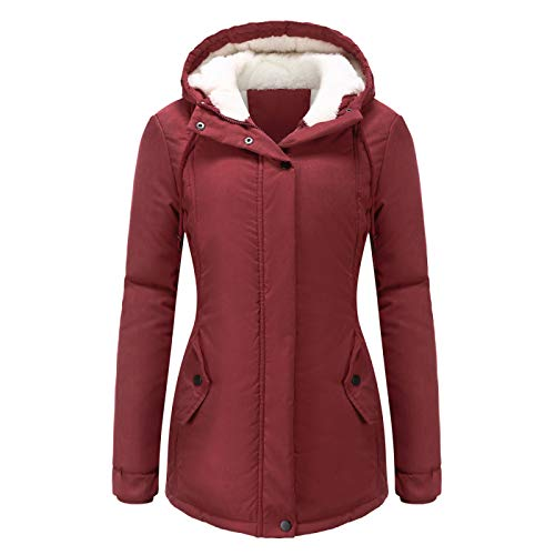 Katenyl Otoño e invierno nuevo abrigo acolchado de algodón cálido chaqueta con capucha informal gruesa y de terciopelo de color sólido para mujer con cordón
