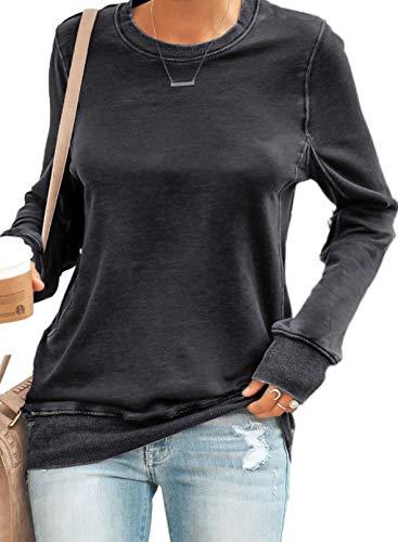 Sudaderas de color sólido para mujer, estilo casual, cuello redondo, túnica de manga larga, blusa suave informal