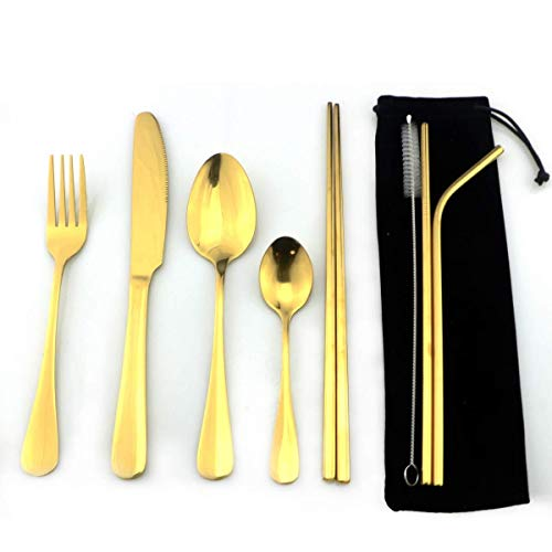 Herbruikbare Rainbow Bestek roestvrij staal serviezen Set rietjes Copper Rosy Chopsticks Brush Pouch Travel servies (Color : Gold)