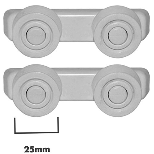 SPARES2GO Basket Drawer Runner Rail Support Wielen & Beugels voor Proline Vaatwasser (25mm, 4 Sets)