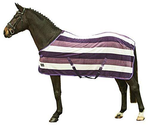 HKM Abschwitzdecke -Fashion Stripes- mit Kreuzgurt, lila/alt rosa/woll weiß, 155