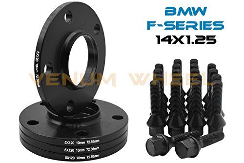 4 Pc 10 MM BMW F-Series 5x120 MM Black Hub Centric Wheel Spacers 72.56 Hub Bore W/ 14x1.25 Black Lug Bolts Fits: 2013-2017 228 320 328 GT X Drive 335 GT 428 435 528 550 640 740 750 760 M3 M4 M5 M6