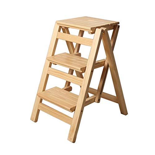 ZYLZL Escalera portátil plegable Taburete escalonado Escalera Asientos para sillas Silla alta Estante de madera Escalera de tijera plegable Escalera de 3 escalones Ampliada Seguridad Estantería plega
