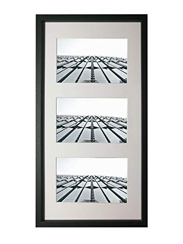 Chely Intermarket, Marcos de Fotos Multiples 10x15cm (Mod-3680) (Negro) Paspartú para Foto de 10x15cm Incluida, Frente de Vidrio (Medida 20x40 cm (Sin paspartú)