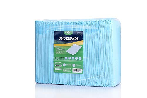 Unifree Disposable Underpad, Incontinence Pad, Super Absorbent (XL 30x36 Inch) 50 Count, Blue