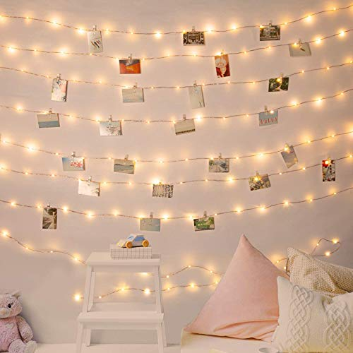 100 LED Photo Clip String Lights, 10M Photo Peg Fairy Lights with 60 Clips Indoor Battery Powered Silver Wire Hanging String Photo Frames Decoration for Bedroom Wedding Party Christmas Photo