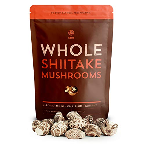 SB Organics White Flower Shiitake Mushrooms - All Natural Vegan and Gluten-Free Dried Whole Mushrooms - 4-5 cm, 16 oz.