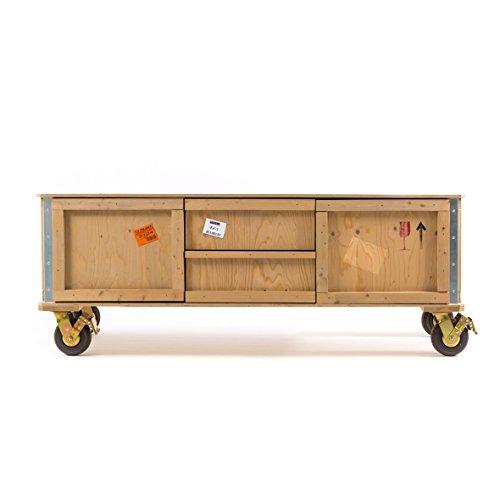 Mobile Tv van hout met wielen