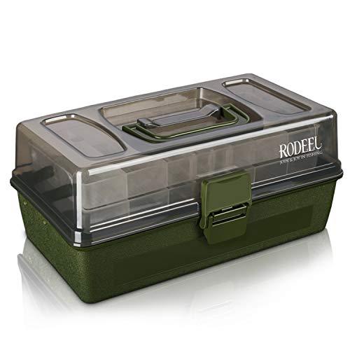 Rodeel 2 bandejas voladizas Caja de Aparejos de Pesca, Compartimentos Ajustables