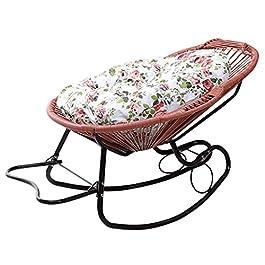 Fauteuil à bascule inclinable en rotin marron Chaises longues inclinables avec coussins Chaise de jardin pour enfants…