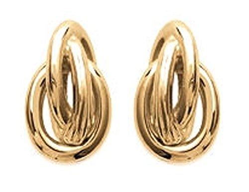 Ohrringe in vergoldet–3Ringe ineinander verschlungenen, gekreuzten, verdrillte–Schmuck Damen