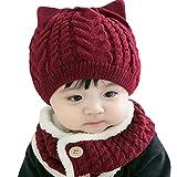 [ミャオッティ] ベビー帽 ネックウォーマー セット あったか ニット帽 耳付き 赤ちゃん 帽子 マフラー 6色 フリーサイズ SF396-R15-WR (ワインレッド)