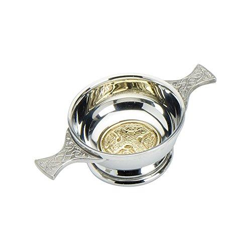Edwin Blyde & Co Quaich Mit Messing Keltisches Kreuz Design und Celtic Griffe, 5,1cm, Zinn