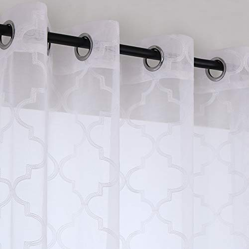 KEQIAOSUOCAI Moroccan Lattice Embroidery White Semi Sheer Curtains for Living Room Grommet Faux Linen Window Draperies Home Decor Voile 2 Panels 52 x 84 Inches