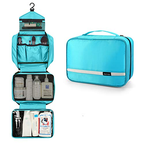 Hanging Toiletry Bag, Travel Toiletry Bag | Foldable Dopp Kit with Large Capacity for Men | 4 Layers Portable Waterproof Hygiene Bag for Women | Travel Bathroom Organizer(Bright-Blue)