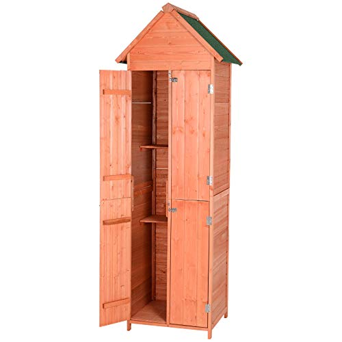 Outsunny 4-Door Tool Storage Shed Lockable Garden Organizer, Multi-Shelves, Pine Wood
