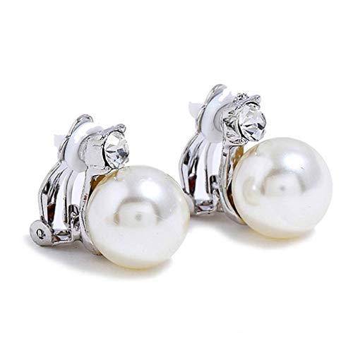 Bobury 1 Paio Ragazze Cristallo della Perla Orecchini di Clip di Nozze Donne Ciondolo Femminile No Piercing Orecchini