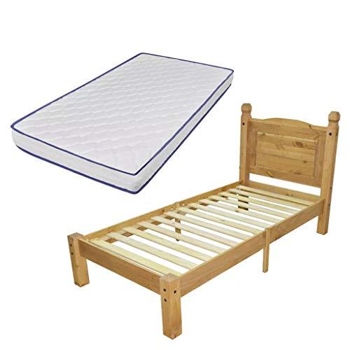 vidaXL Grenenhouten Bed met Traagschuim Matras Corona Stijl 90x200 cm Ledikant