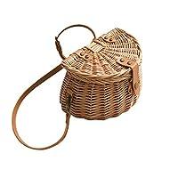 手作りの籐織り自転車フロントバスケット、キッズ自転車のバスケット手作りの藤の袋バックバスケットフィットキャンプ写真ポーズ,ブロンズ