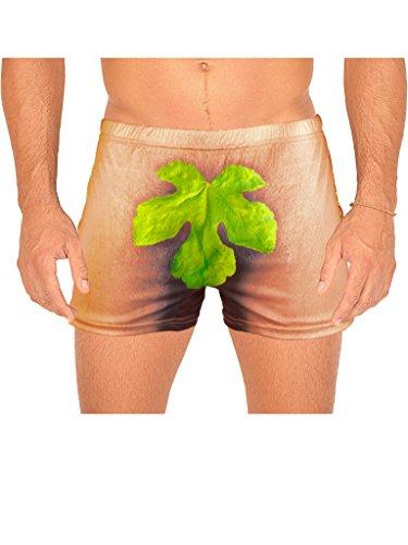 Veri lustige Boxershort Funartikel für Männer - FEIGENBLATT mit witziger Rückenansicht - im Set mit Urkunde - Unterhose one Size S-L Strech :