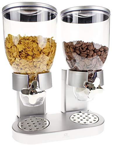 United Entertainment - Dispensador de cereales (doble dispensador para cereales, muesli y copos de maíz), color plateado - 33x20x42 cm