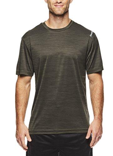 Reebok - Camiseta de entrenamiento para hombre, diseño de cuello redondo con material de rendimiento - Verde - Large