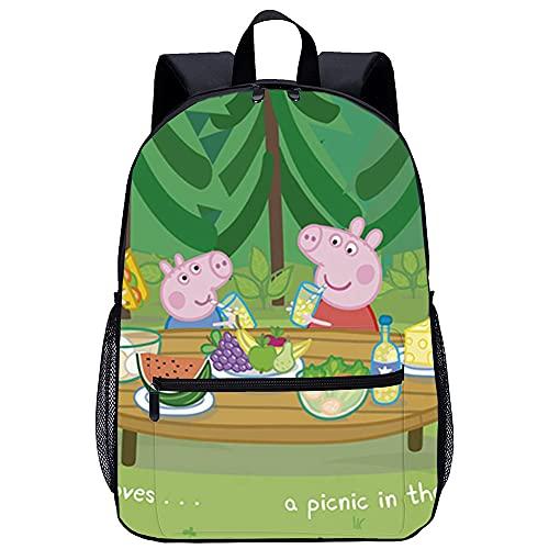 KKASD Póster de Peppa Pig, mochila impresa en 3D, mochila informal, mochila escolar, regalos para niños y adolescentes, mochila de moda de 45x30x15cm
